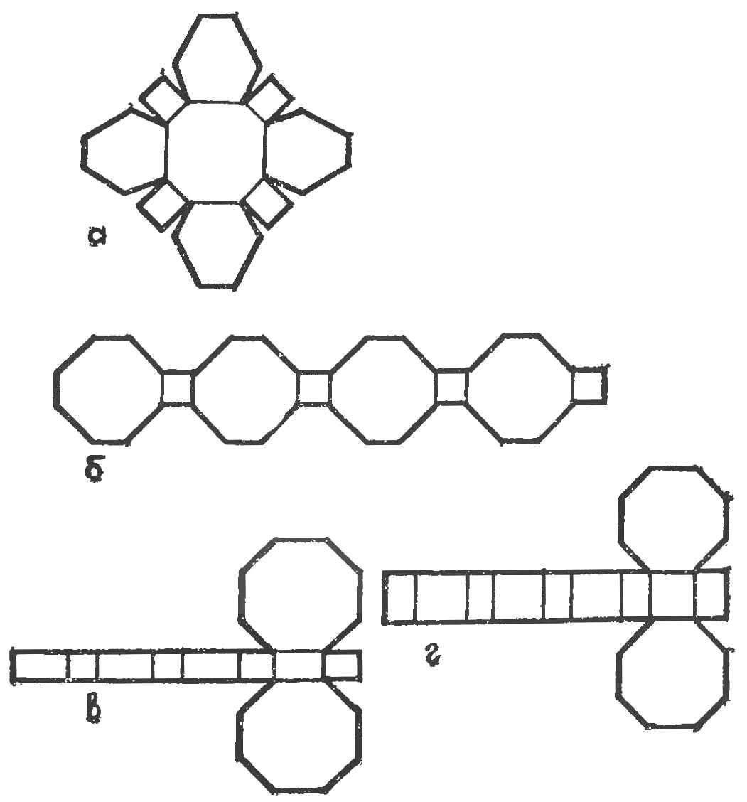 Рис. 9. Развертки серии многогранников (для выклеивания трубопровода)