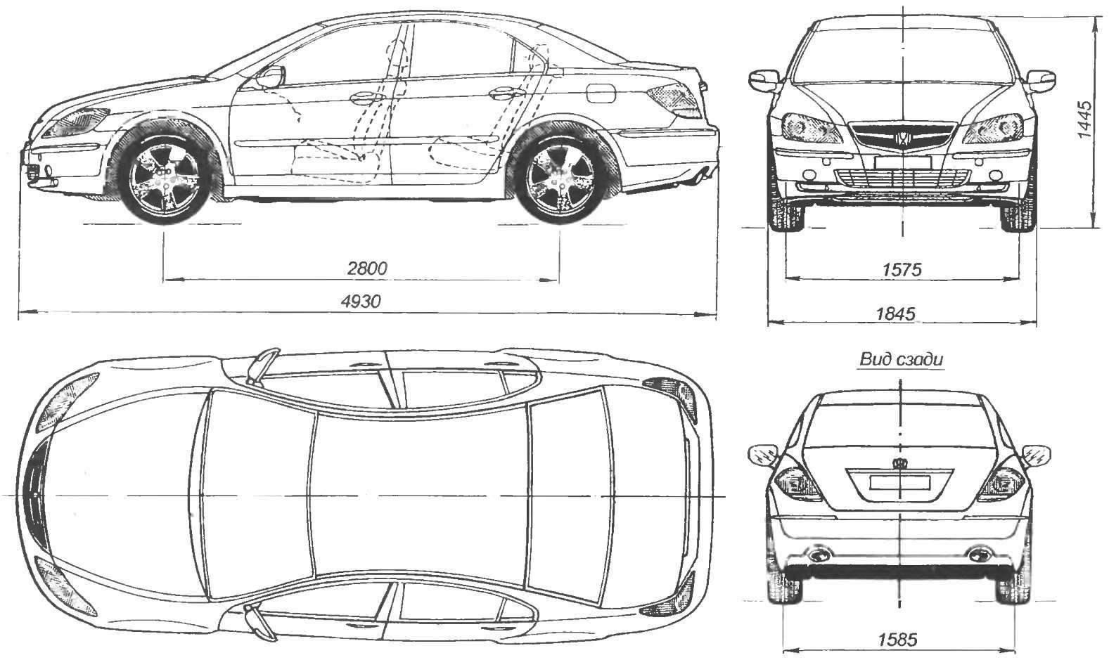 Геометрическая схема автомобиля Honda Legend