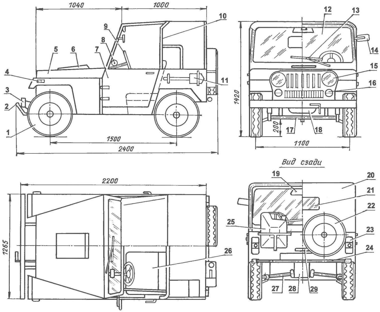 Геометрическая схема мотокара