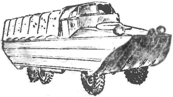 Рис. 2. Грузовой плавающий автомобиль ЗИЛ-485 (БАВ)