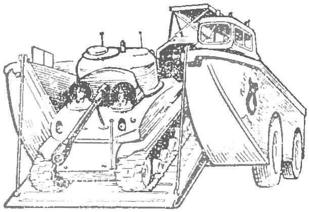 Рис. 9. Амфибия-гигант «барк»: общий вид и схема устройства.
