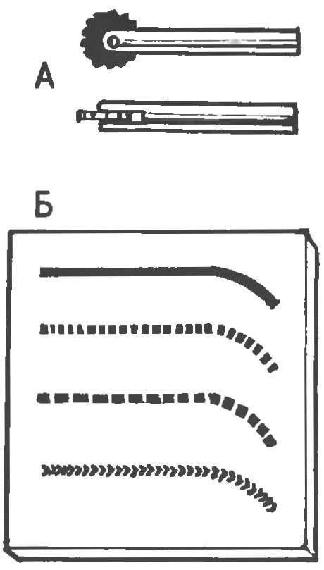 Вставка для выжигания в виде ролика (А); Б — варианты рисунка — в зависимости от профиля ролика