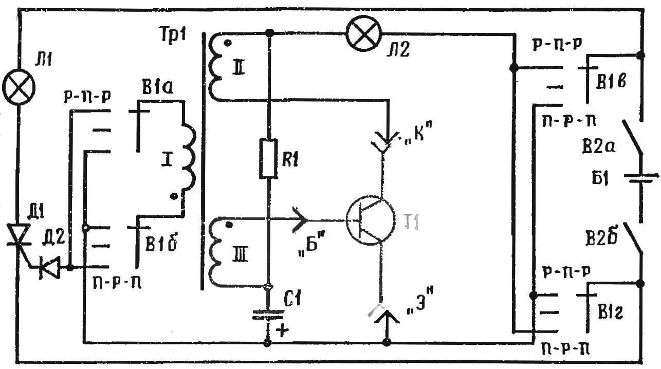 Рис. 1. Принципиальная схема пробника для проверки транзисторов: R1 20 кОм, С1 20 мкФ, Д2 Д7А — Ж