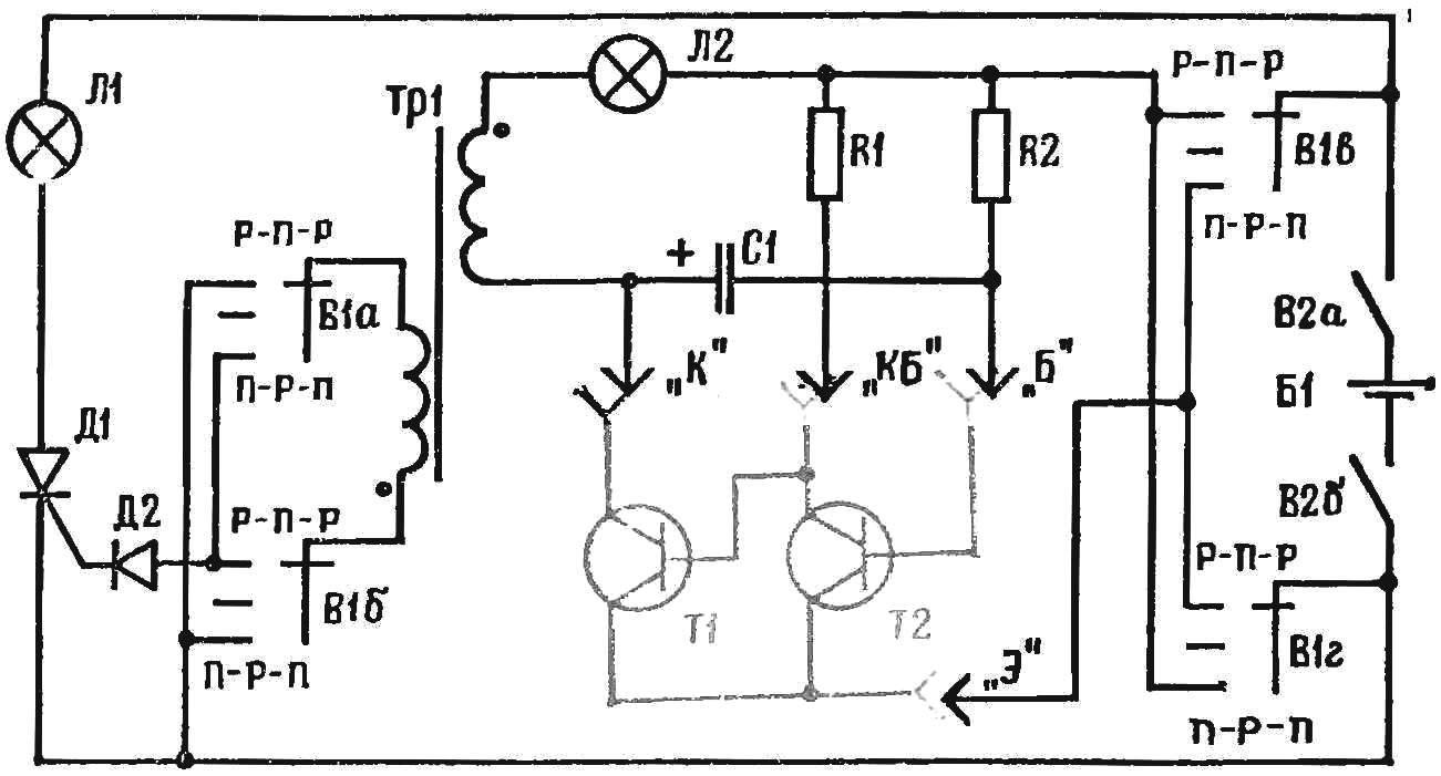 Рис. 2. Принципиальная схема пробника для проверки пар транзисторов с гальванической связью: R1 5,1 кОм, R3 30 кОм, С1, С2 20мкФ, Д2 Д7А-Ж.