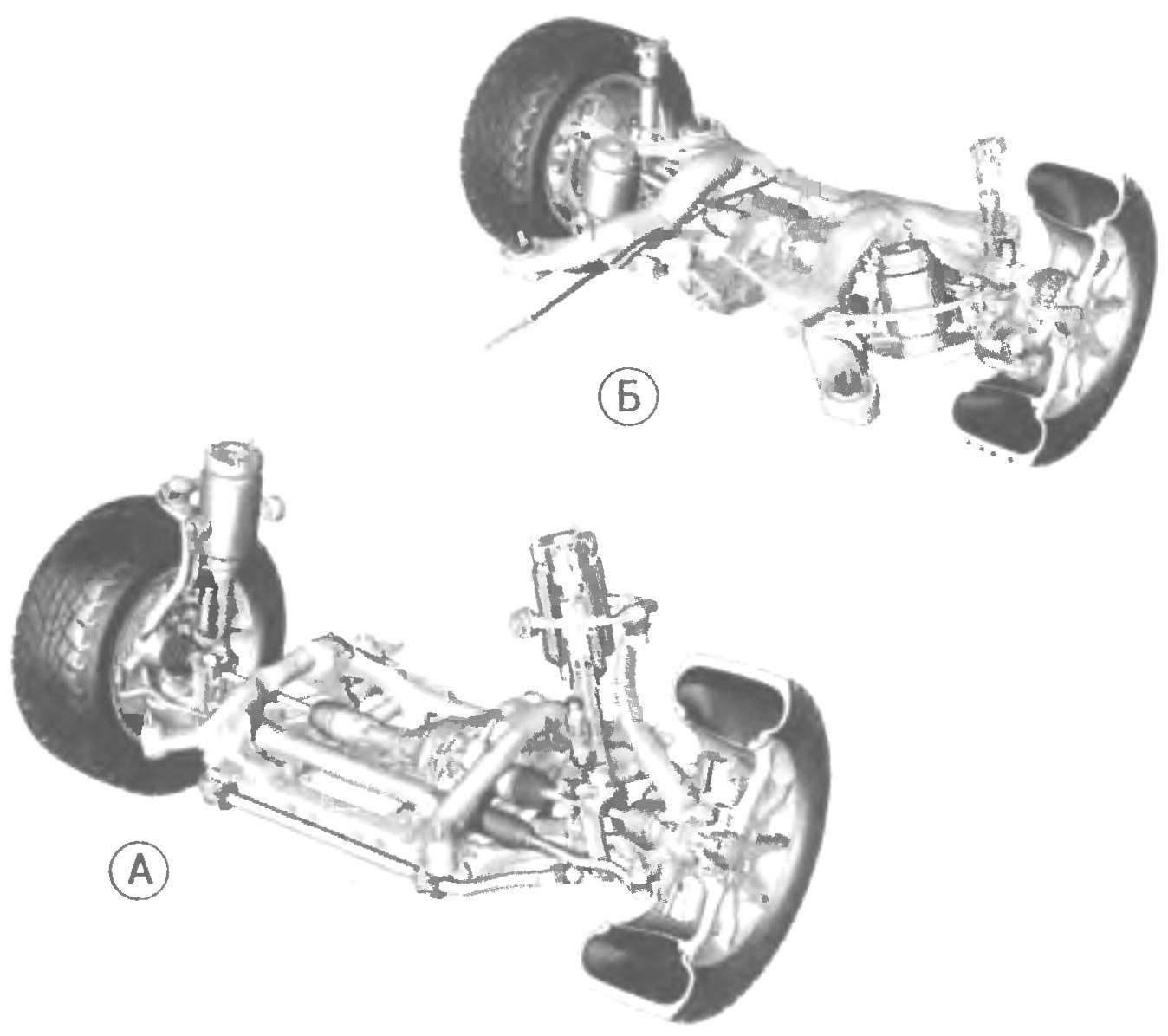 Передняя (А) и задняя (Б) подвески автомобиля