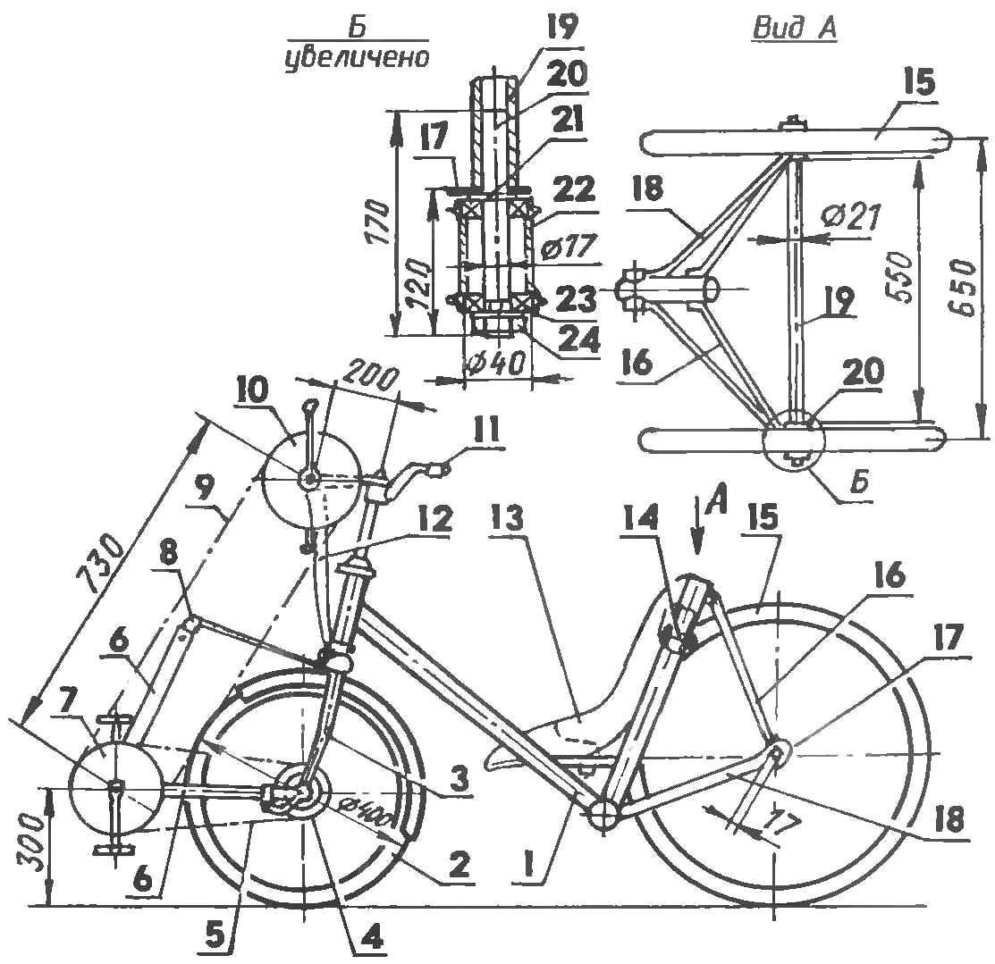 Трехколесные велосипед своими руками чертеж