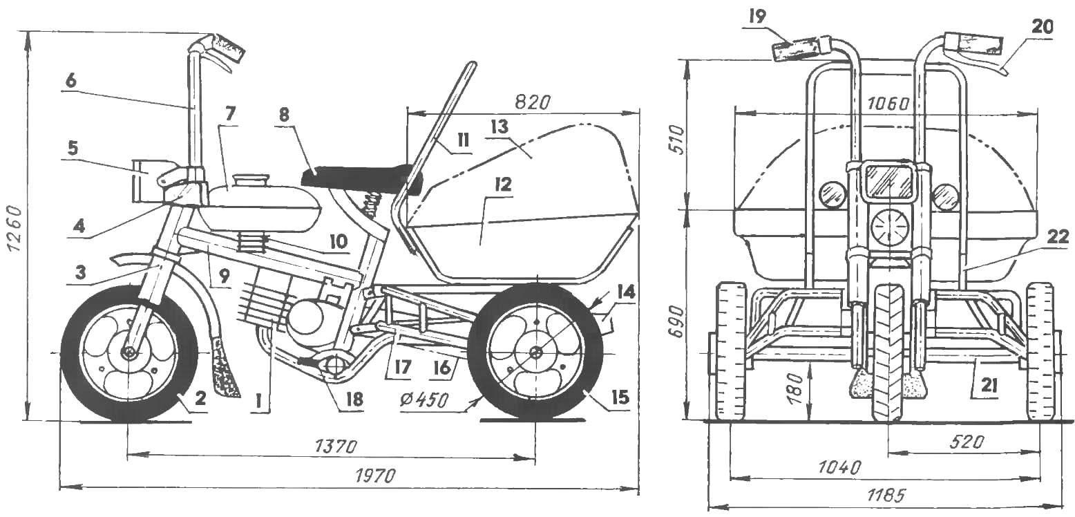 Геометрическая схема и компоновка грузового мини-мокика