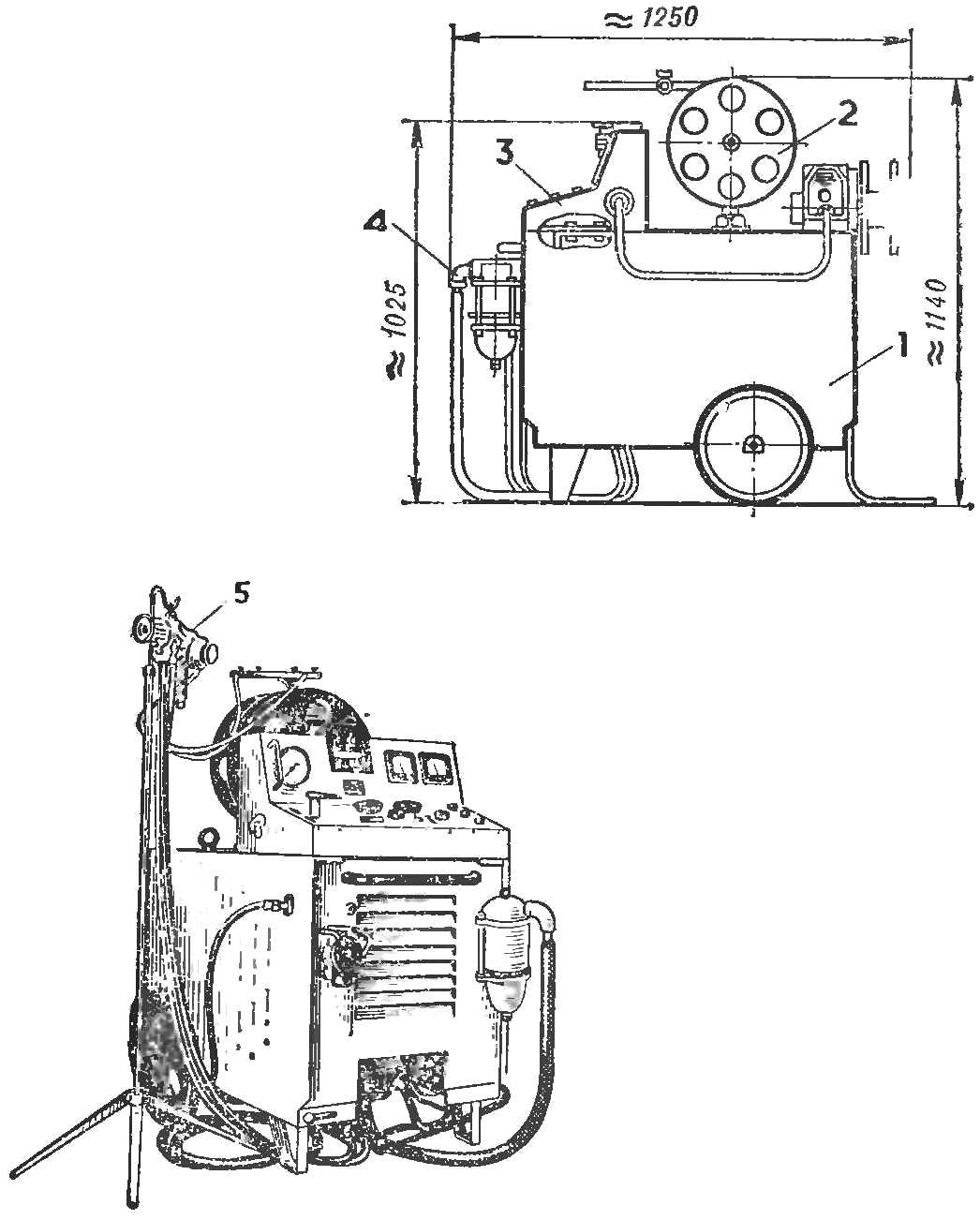 Рис. 1. Аппаратура для металлизации и ее схема