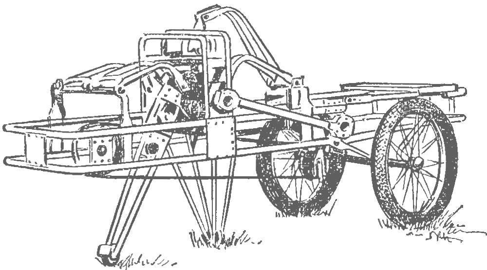 Рис. 1. Тележка c пытающим движителем И. Лягуши.