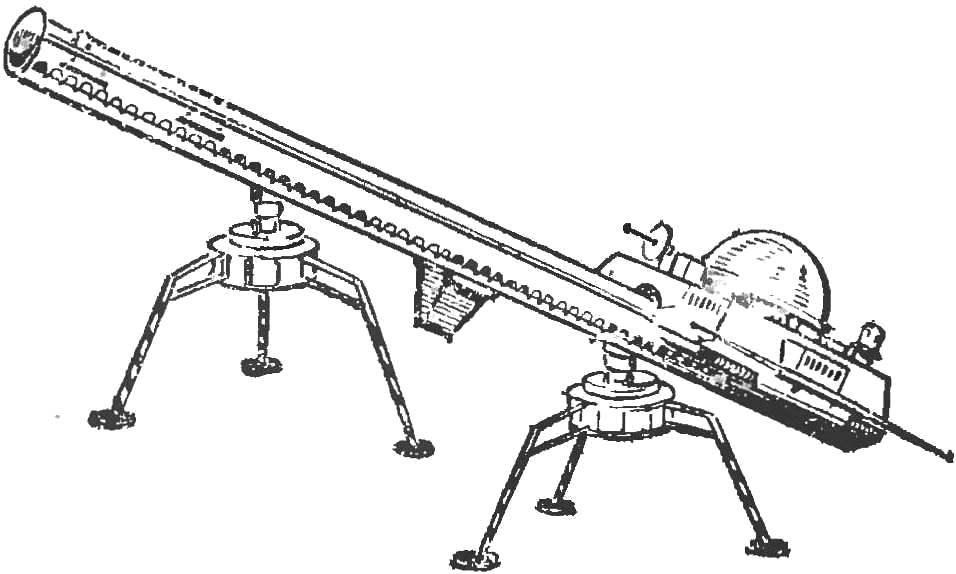 Рис. 5. Шагающий аппарат с двумя жесткими опорными треножниками, построенный юными техниками (выставка НТТМ-76).