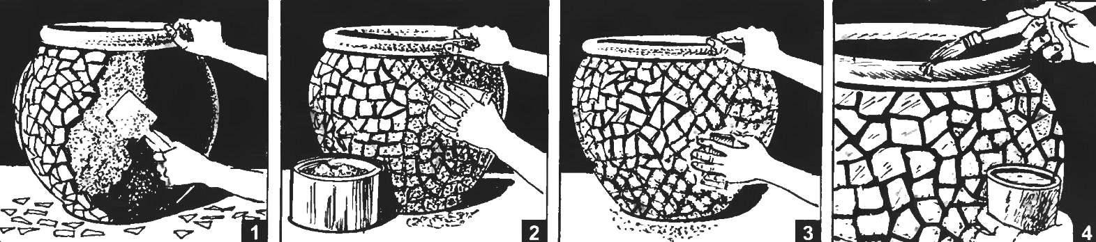 Облагораживание мозаикой цветочного горшка