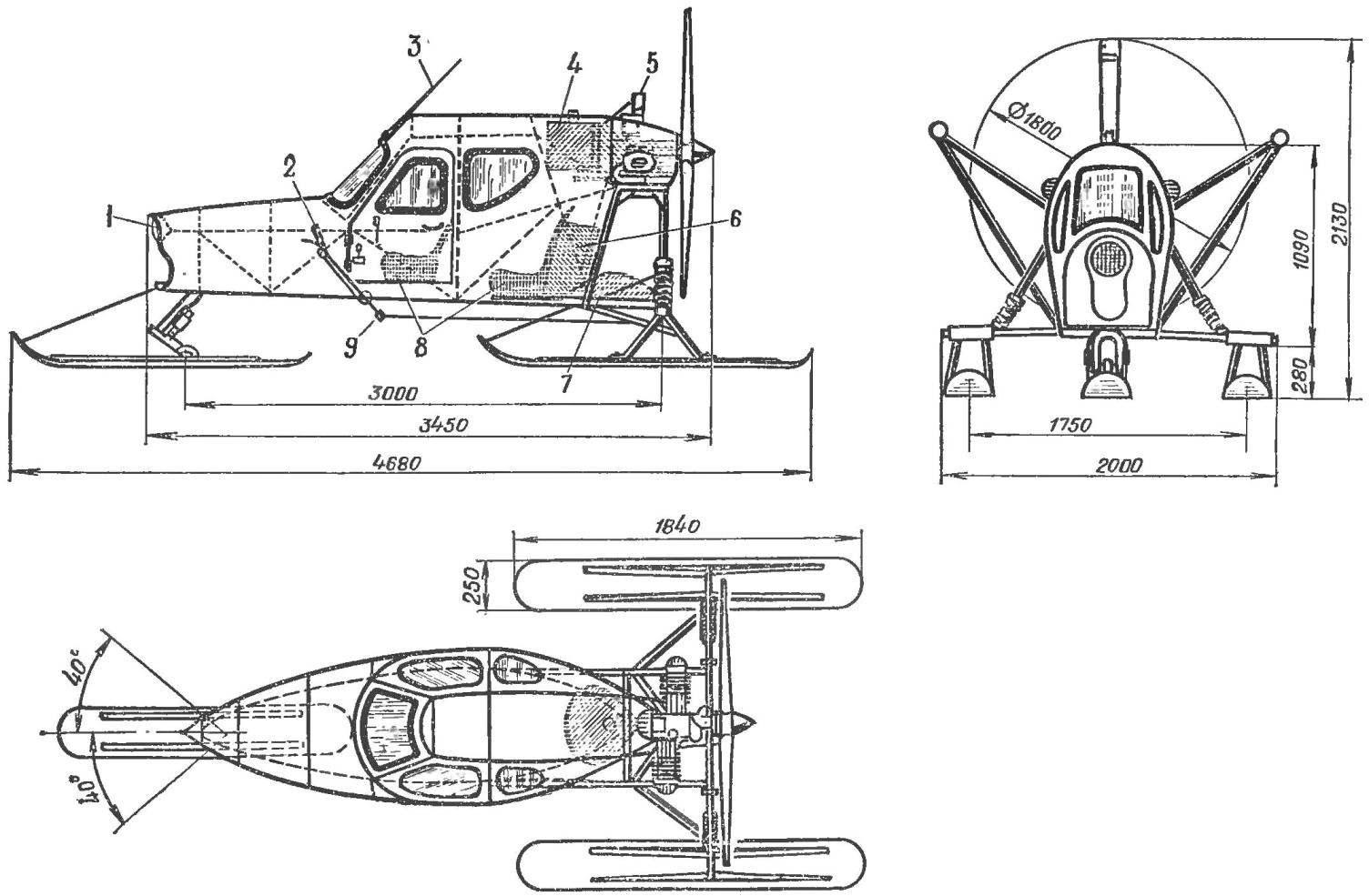Рис. 1. Схема в трех проекциях и основные размеры аэросаней АСП-3