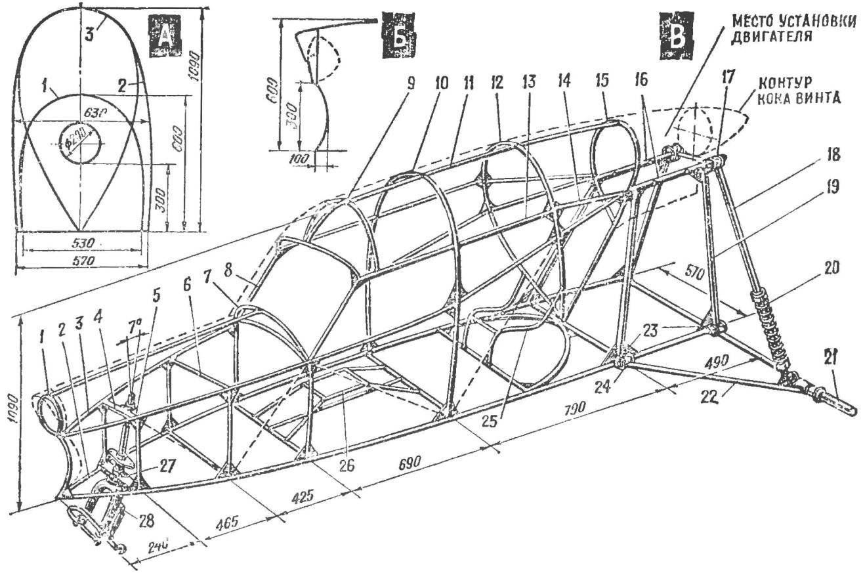 Рис. 2. Конструкция и основные размеры каркаса