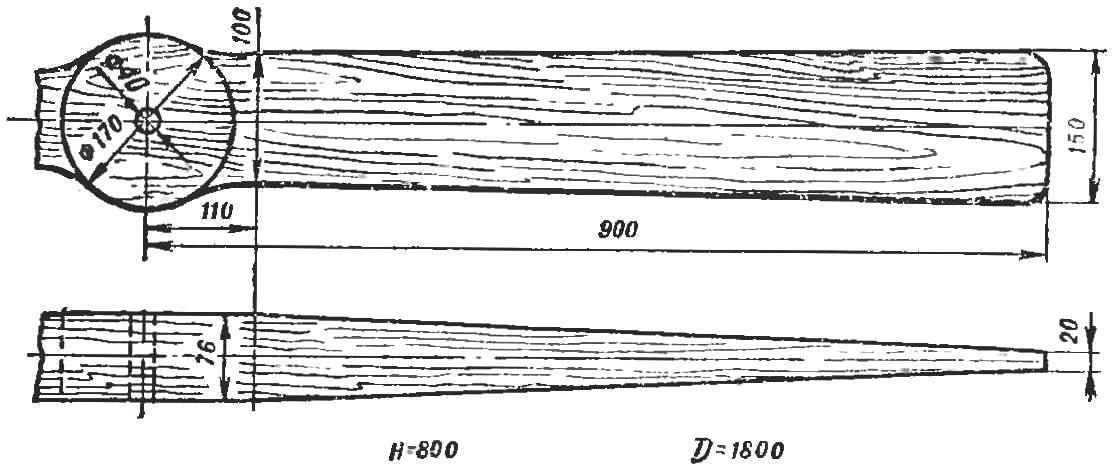 Рис. 5. Воздушный винт: вид сверху и сбоку.