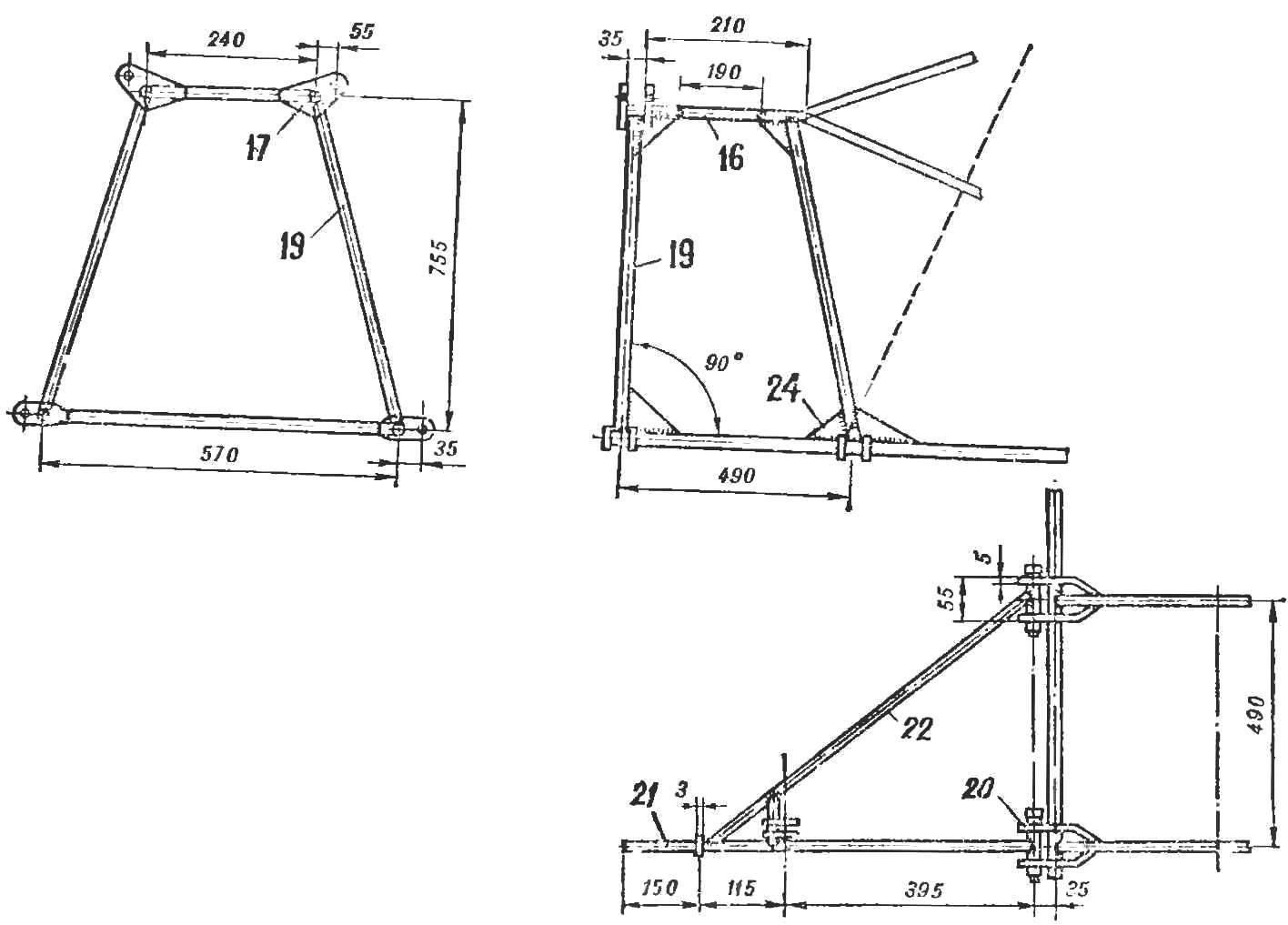 Рис. 8. Конструкция под моторной рамы и подвески лыжи.