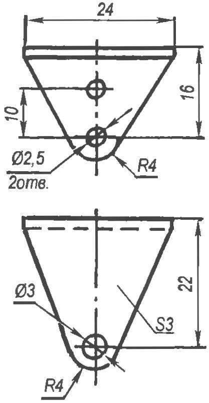 Кронштейн качалки управления (дюралюминий, уголок с полками s3)