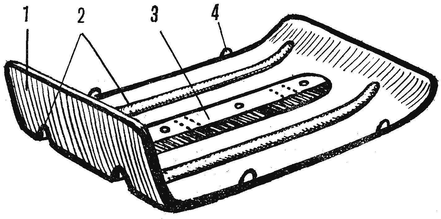 Рис. 2. Общий вид специальной широкой лыжи из дюралюминиевого листа