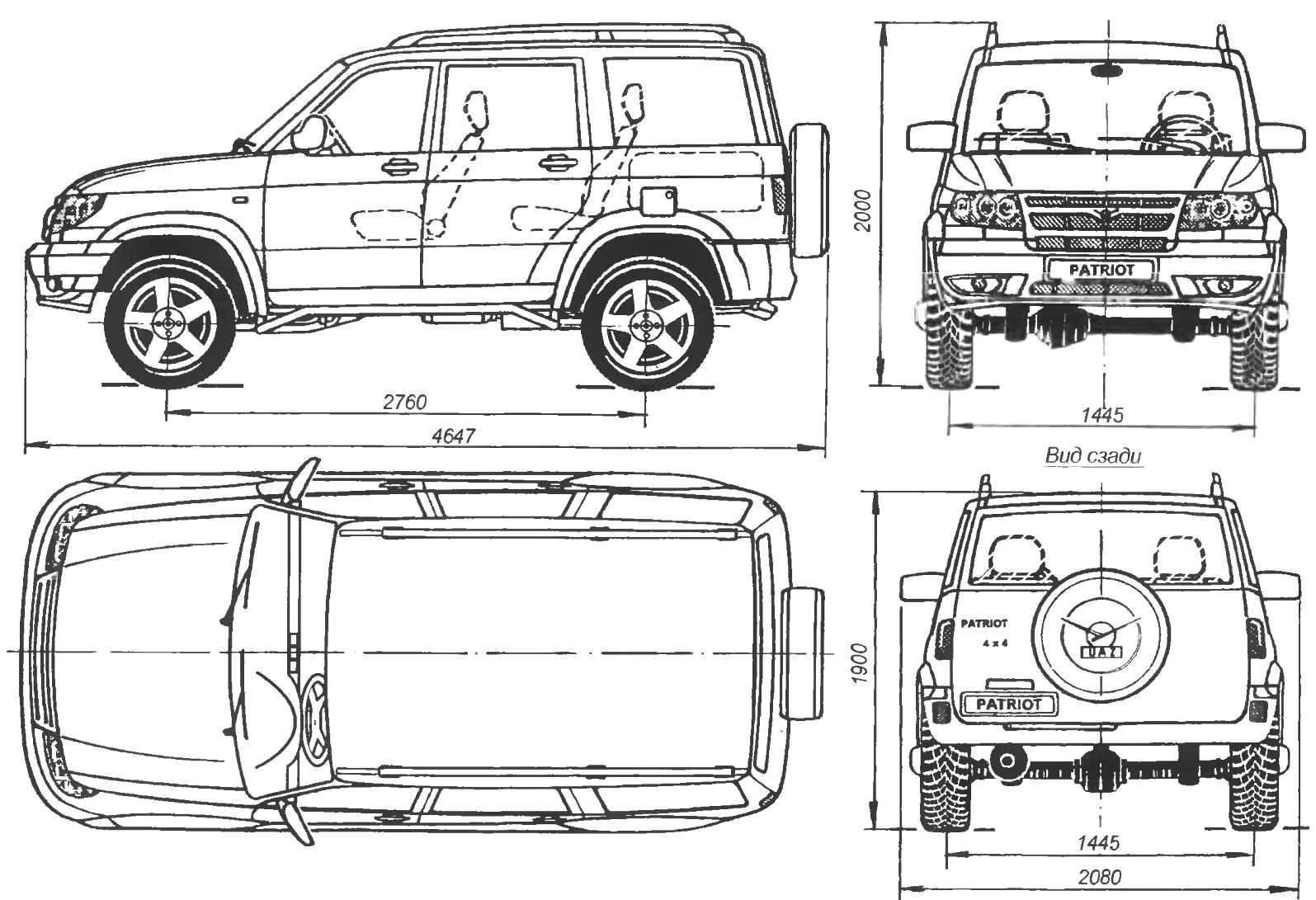 Геометрическая схема автомобиля-внедорожника UAZ-PATRIOT
