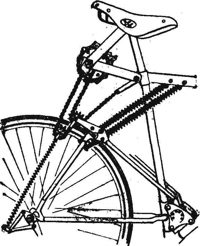 Рис. 1. Схема рычажно-шатунного заводного механизма барабана-накопителя.