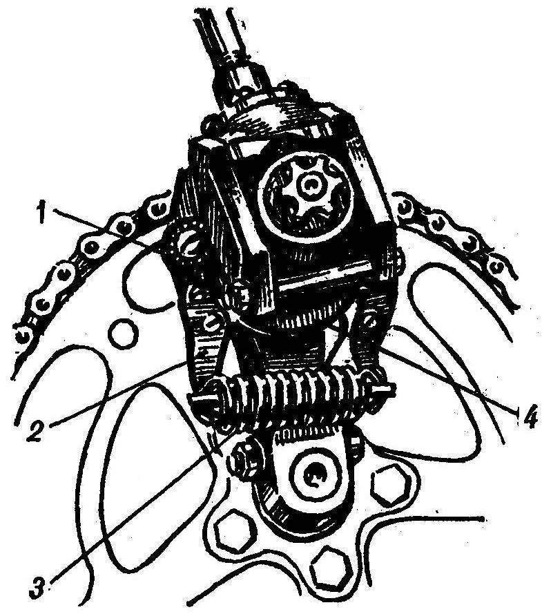 Рис. 3. Узел привода, выводящий шатун из «мертвой точки»