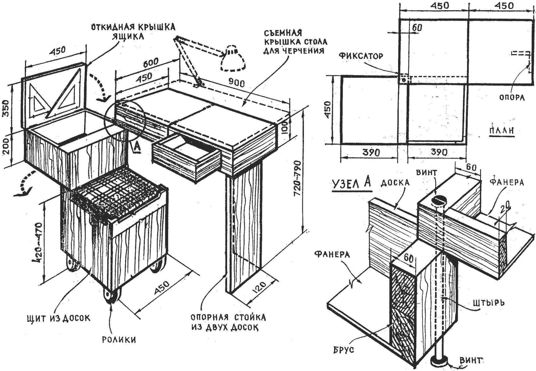 Fig. 3. Another option: folding drafting table.