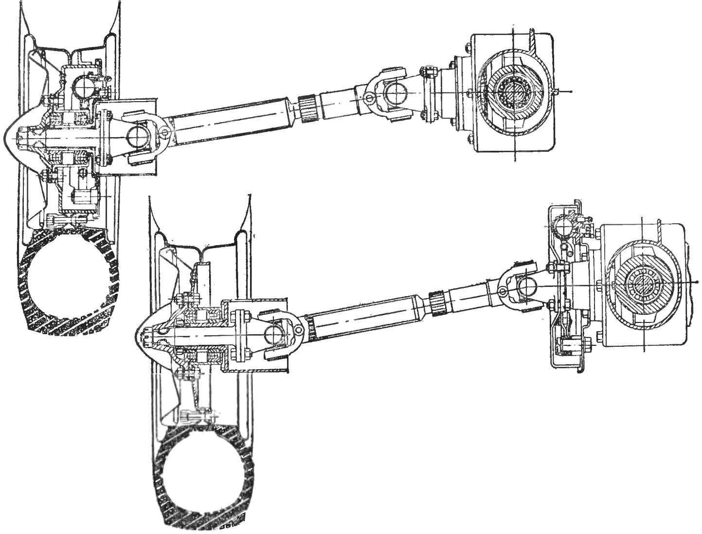 Рис. 4. Ведущий мост из узлов равных автомобилей и мотоциклов; внизу — вариант с тормозным барабаном на внутреннем конце полуоси.