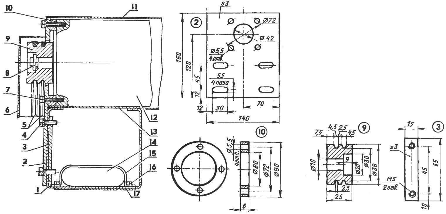 Расположение электропривода на корпусе