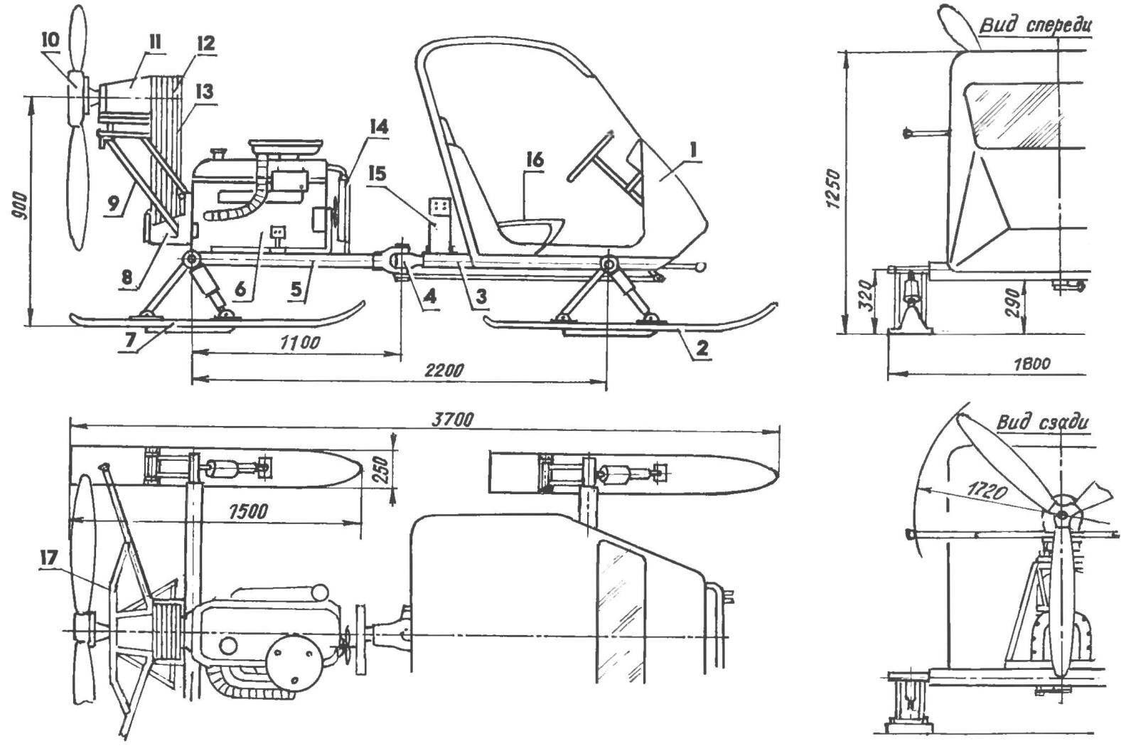Компоновка и геометрическая схема аэросаней