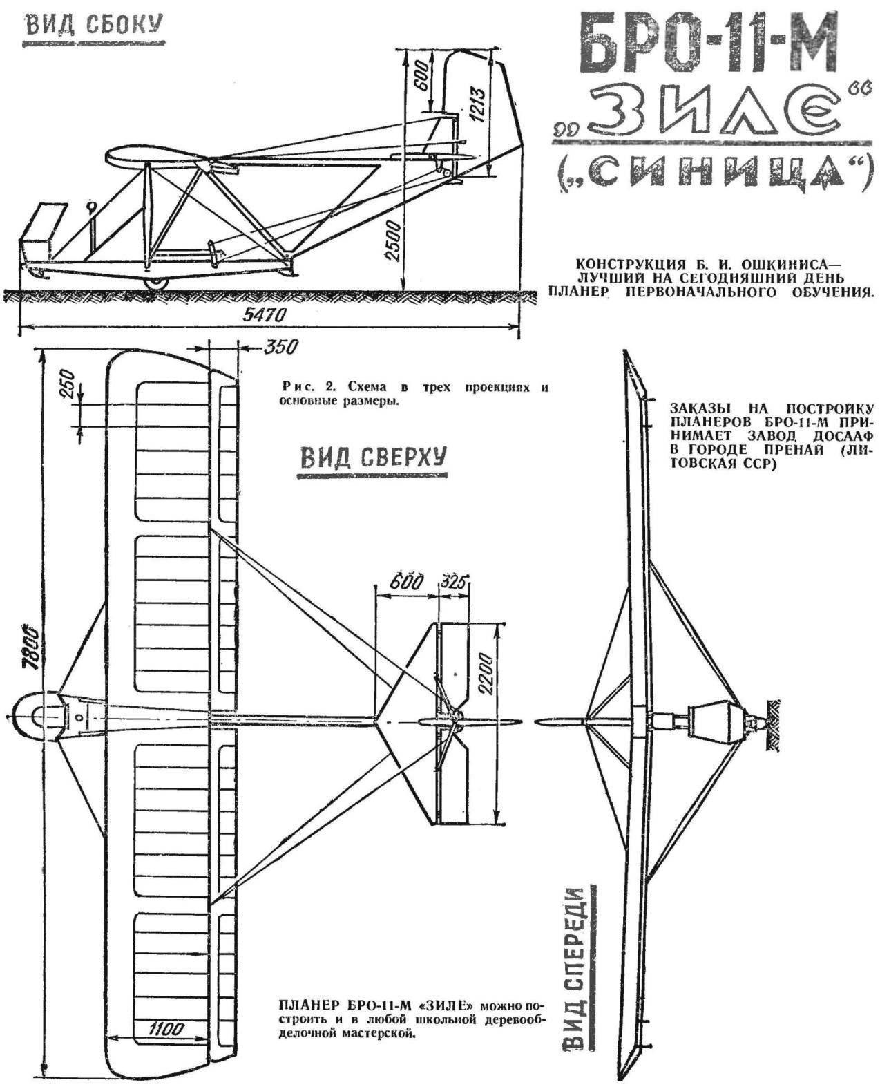 Рис. 2. Схема в трех проекциях основные размеры.
