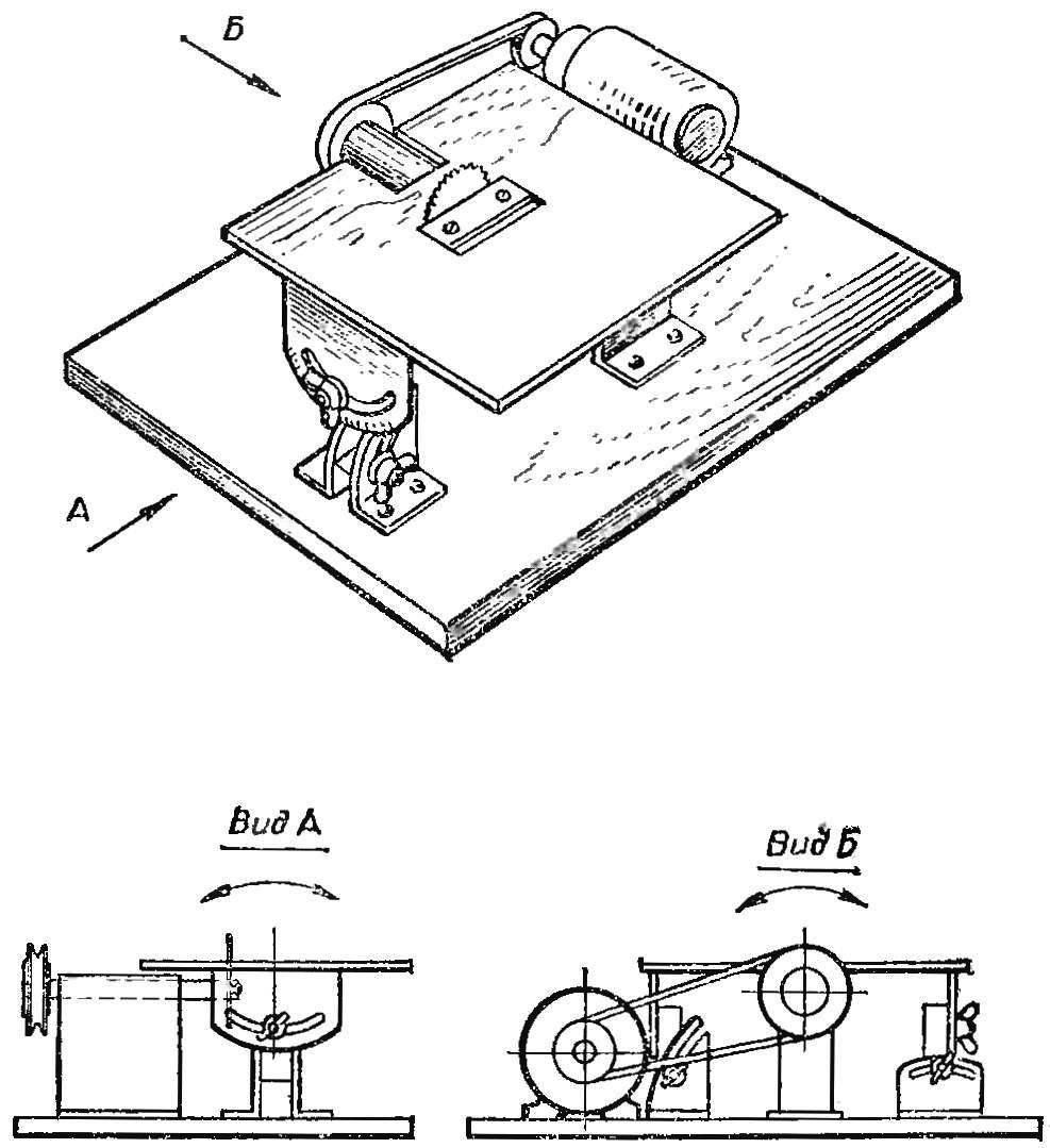 Рис. 11. Стол этой циркулярной пилы может поворачиваться в двух плоскостях.