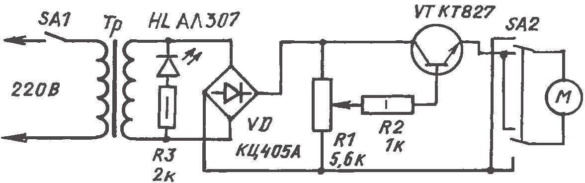 Управляющая электрическая схема прялки