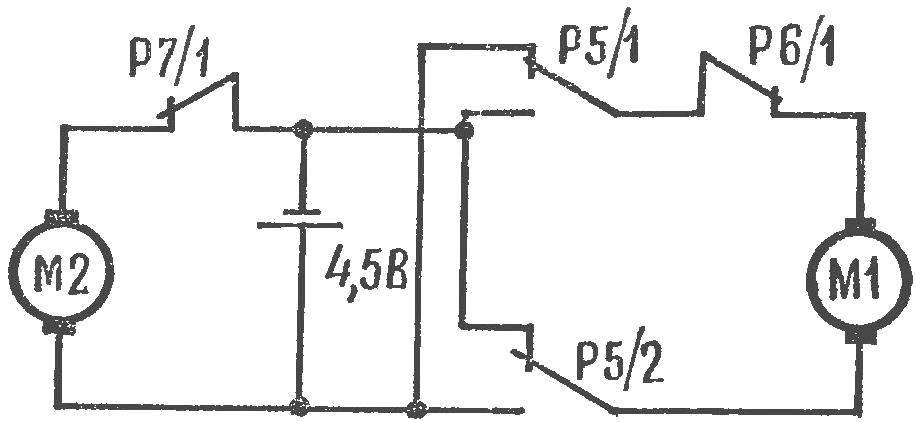 Рис. 2. Схема коммутации электродвигателей.