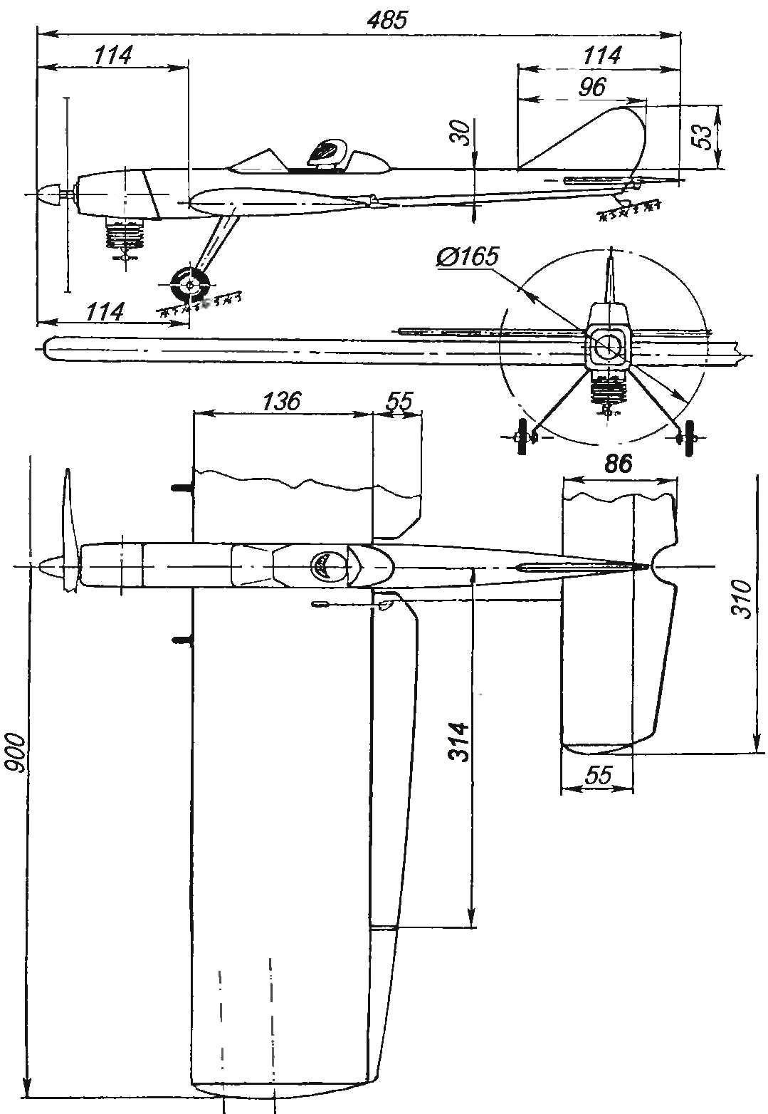 Геометрическая схема пилотажной кордовой модели с двигателем МК-17 «Юниор»