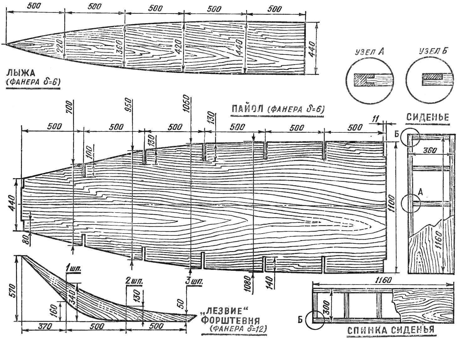 Рис. 4. Рабочие чертежи лыжи, пайола, «лезвия» форштевня и сидений.