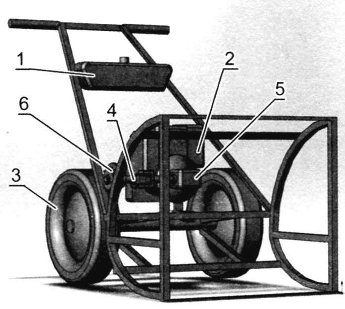 Шасси снегоуборщика (рама с двигателем и колёсами)