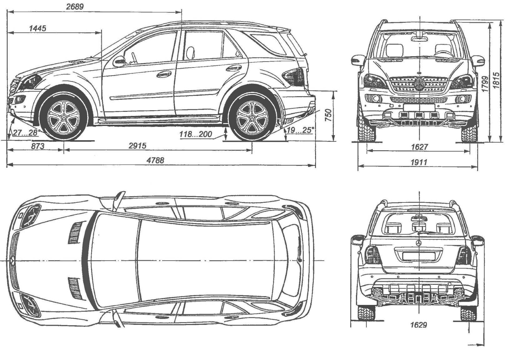 Geometric scheme of the car MERCEDES-BENZ ML-class