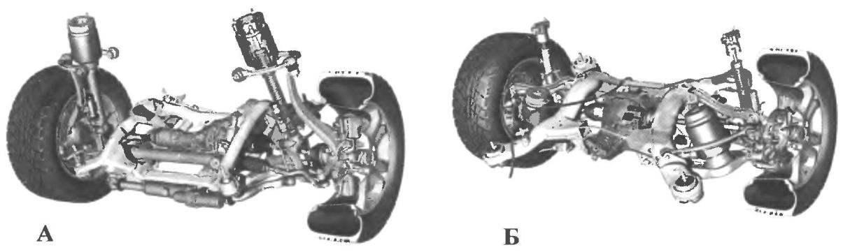 Пневматическая подвеска автомобиля MERCEDES-BENZ МL-класса (А - передняя, Б - задняя)