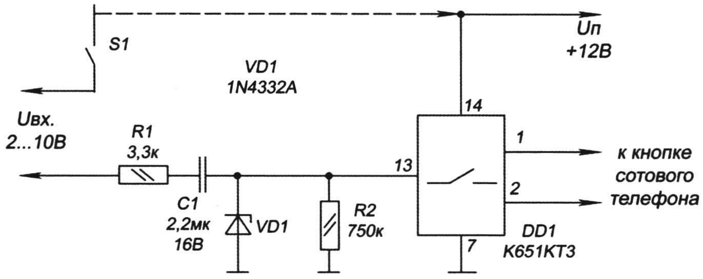 Электрическая схема устройства-адаптера и его подключения к МТА
