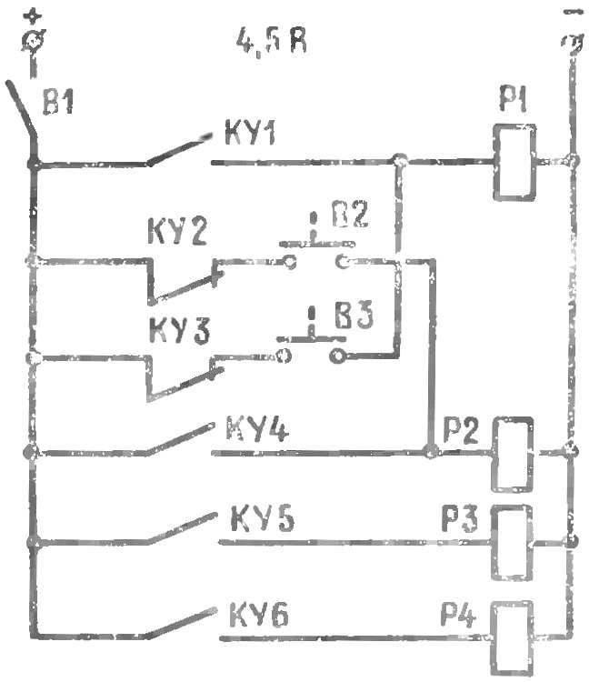 Рис. 4. Принципиальная электрическая схема управления шкотовой лебедкой и рулевым устройством (дискретный вариант)