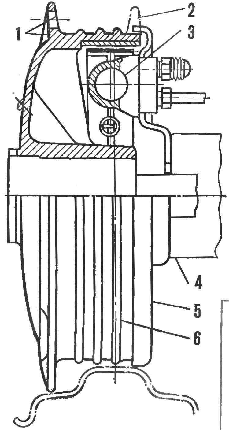 Рис. 5. Измененный тормоз мотоцикла К-750 с гидравлическим приводом