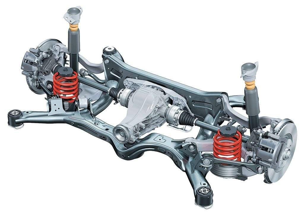 The rear suspension is independent, spring, on the transverse trapezoidal wishbone, with stabilizer. Used on front wheel drive and all-wheel-drive versions of AUDI A6