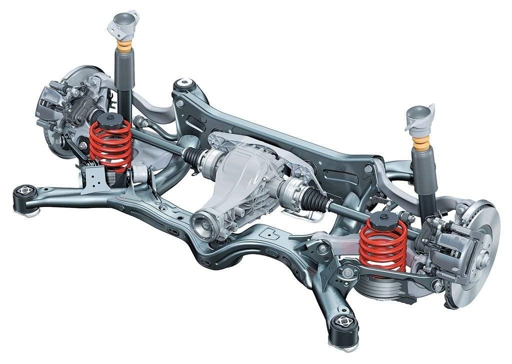Задняя подвеска — независимая, пружинная, на поперечных трапециевидных рычагах, со стабилизатором. Используется как на переднеприводных, так и на полноприводных версиях AUDI A6