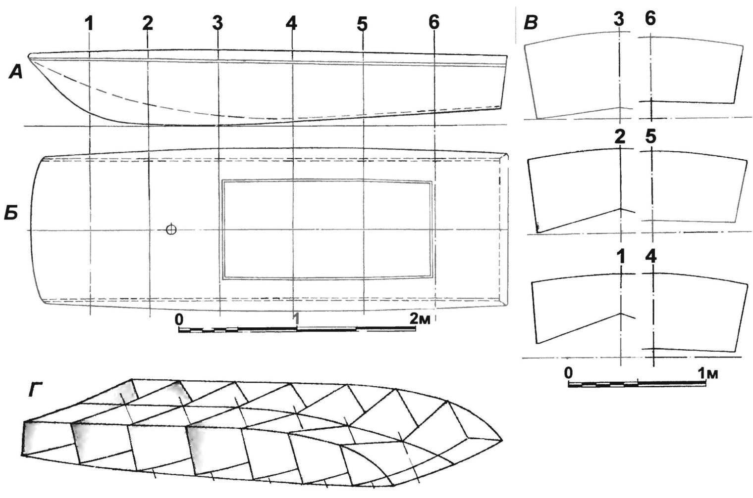Теоретический чертеж корпуса швертбота