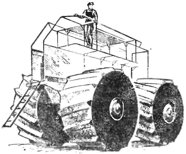 Рис. 3. Полые колеса служат на воде поплавками