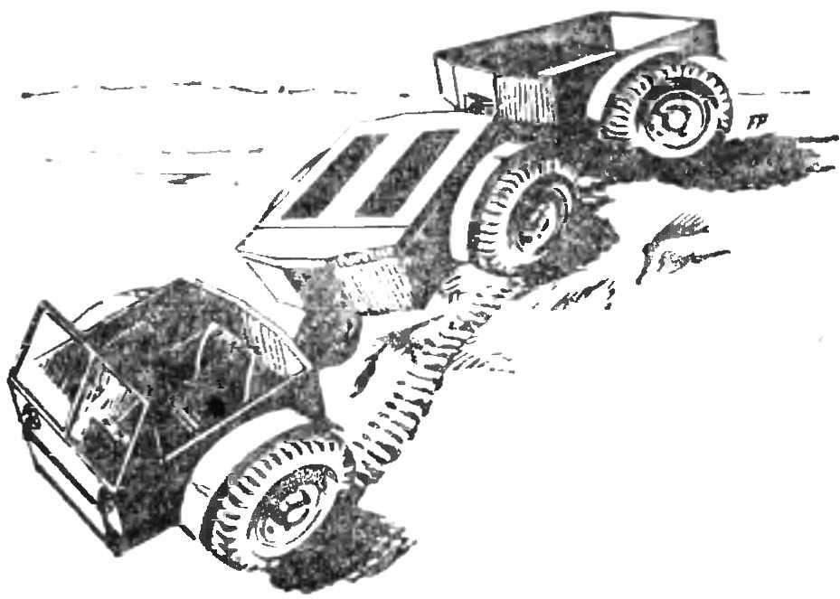 Рис. 4. Многосекционный колесный вездеход