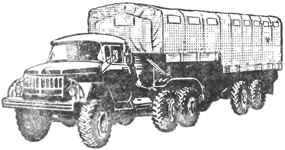 Рис. 6. Автопоезд ЗИЛ-137 с активным полуприцепом