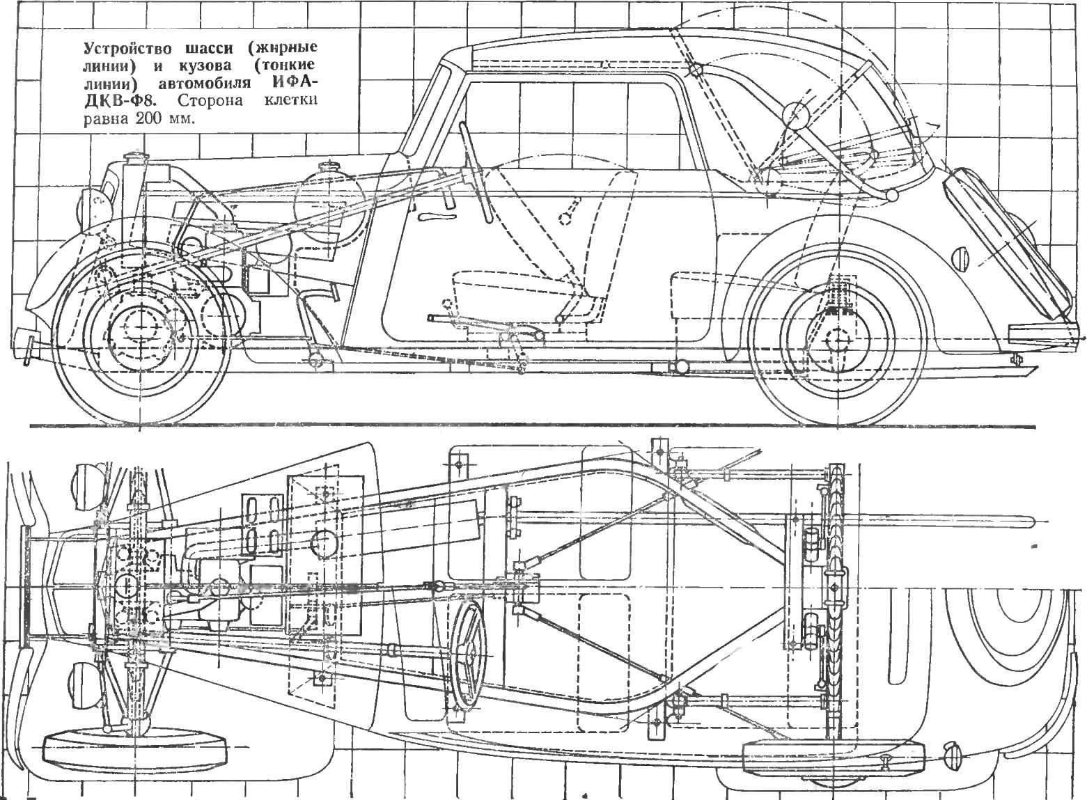 Устройство шасси (жирные линии) и кузова (тонкие линии) автомобиля ИФА-ДКВ-Ф8. Сторона клетки равна 200 мм.
