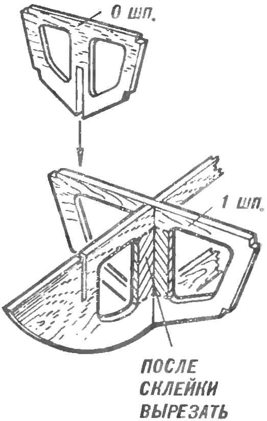Рис. 4. Установка шпангоутов на килевой рамке