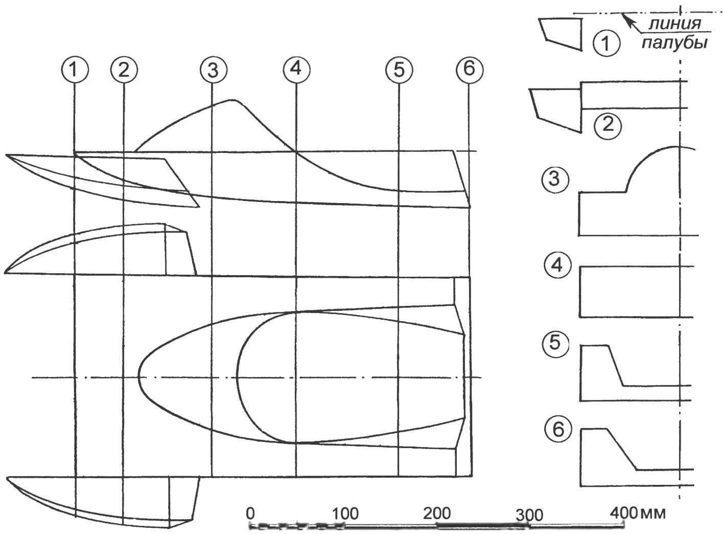 Теоретический чертеж корпуса аэроглиссера