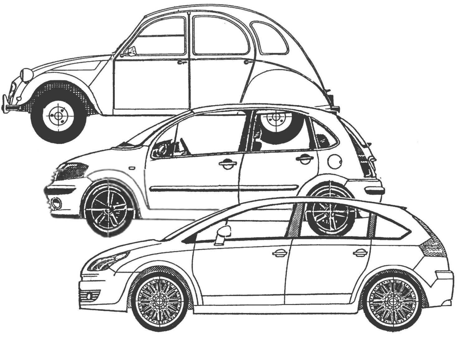 Создание фирменного стиля: от CITROEN 2CV (вверху) и CITROEN С3 (в середине) — к CITROEN С4 (внизу).
